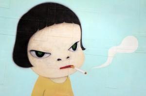 smoking girl par Yoshitomo Nara