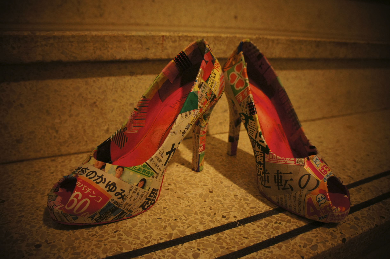 Newspaper Princess' shoes